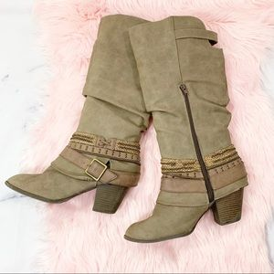 Jellypop Taupe Faux Leather Slouchy Boots 9.5M